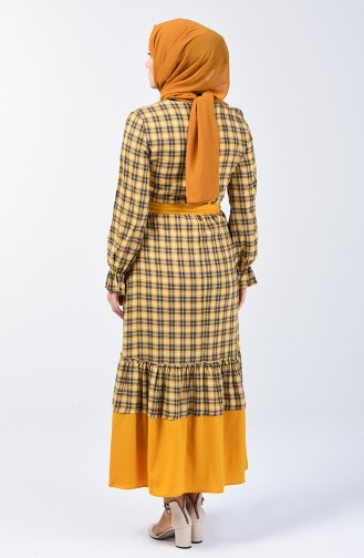 Mustard İslamitische Jurk 33874-02