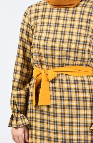 Elastic Sleeve Belted Dress 33874-02 Mustard 33874-02
