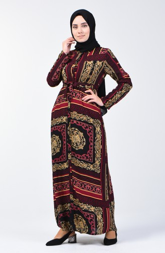 Buttoned Belted Dress 90025-01 Damson 90025-01