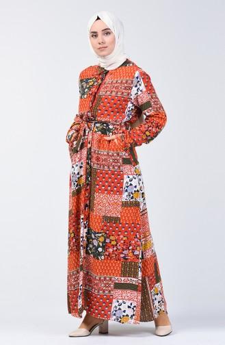 Boydan Düğmeli Desenli Elbise 9041-01 Kiremit