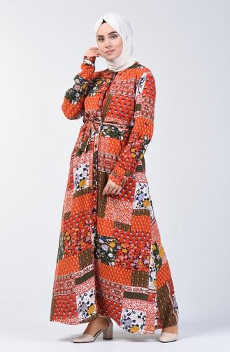 Grösse Grosse Kleid mit Band 9041-01 Ziegelrot 9041-01