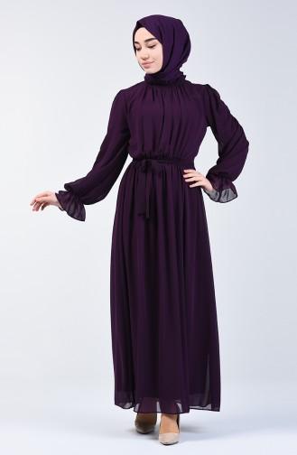 Belted Chiffon Dress 5133-08 Purple 5133-08