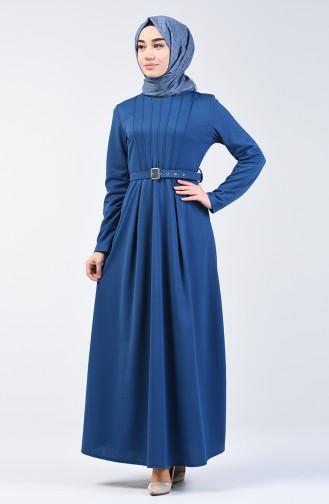 Belted Dress 1404-03 Indigo 1404-03