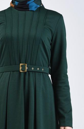 Belted Dress 1404-04 Emerald Green 1404-04