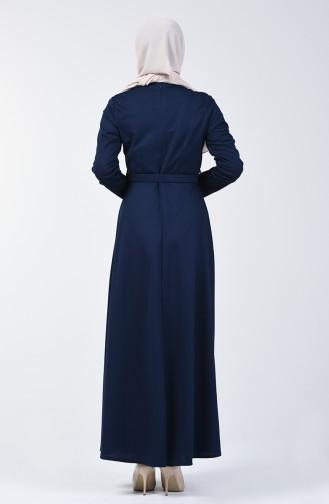 Belted Dress 1404-06 Navy Blue 1404-06