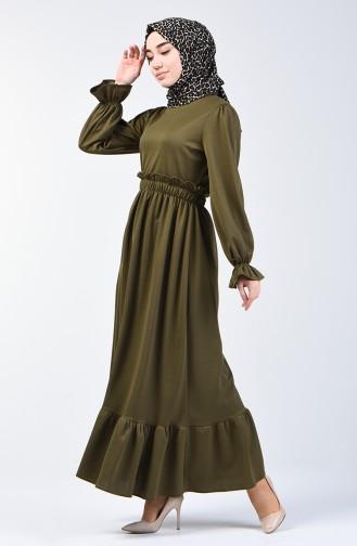 Beli Lastikli Elbise 4532-02 Yağ Yeşili