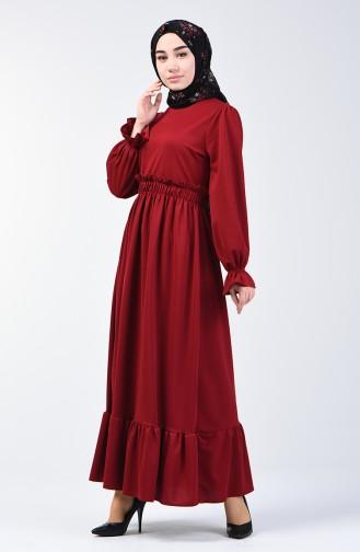 Kleid mit elastische Taille 4532-06 Weinrot 4532-06