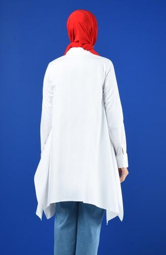 Düğmeli Salaş Tunik 9089-01 Beyaz