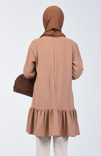 Aeroben Fabric Shirred Tunic 0048-07 Light Coffee 0048-07