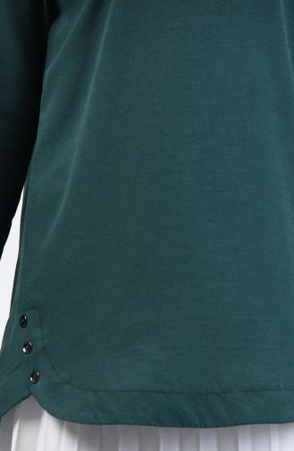 Yanları Düğme Detaylı Tunik 3148-10 Zümrüt Yeşili