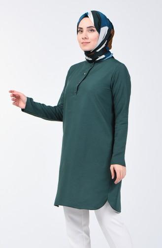 Düğmeli Tunik 3168-01 Zümrüt Yeşili