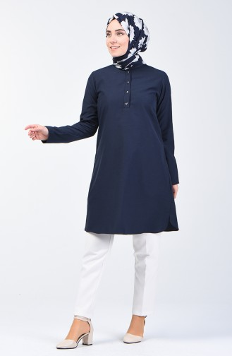 Buttoned Tunic 3168-09 Navy Blue 3168-09