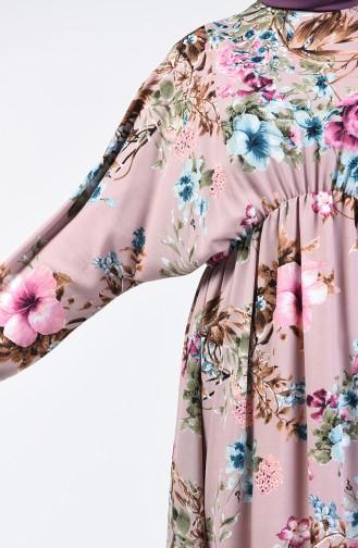 Çiçek Desenli Pamuklu Tunik 0007-02 Vizon