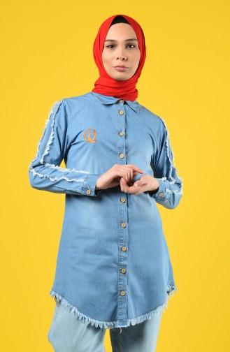 Fringed Denim Shirt 3014-01 Denim Blue 3014-01