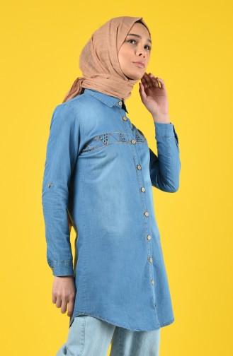 Jeansblau Hemd 3015-01