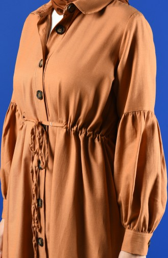 Arm Detailed Shirred Coat 9035-08 Biscuit 9035-08