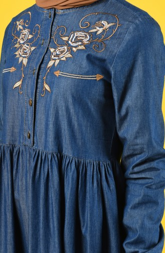 Nakışlı Kot Elbise 6177-03 Açık Lacivert
