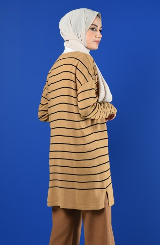 Knitwear Striped Tunic 1230-08 Milk Coffee 1230-08