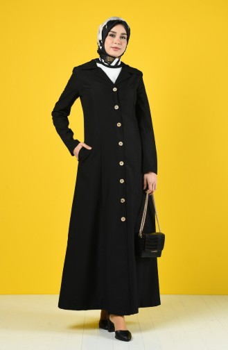 Buttoned Topcoat with Pockets 3169-01 Black 3169-01