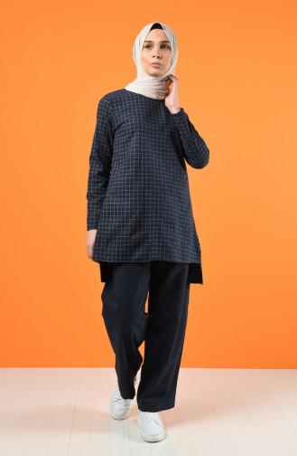 Ekoseli Tunik Pantolon İkili Takım 3155-01 Lacivert