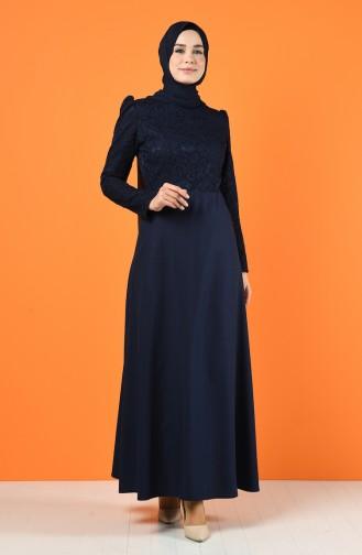 Lace Coated Dress 3164-03 Navy Blue 3164-03