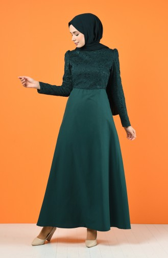 Lace Coated Dress 3164-04 Emerald Green 3164-04