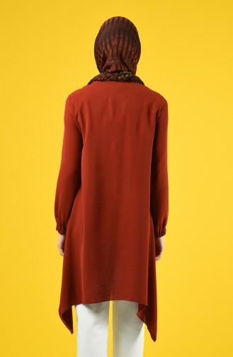 Asymmetrische Tunika mit Tasche  0081-02 Ziegelrot 0081-02