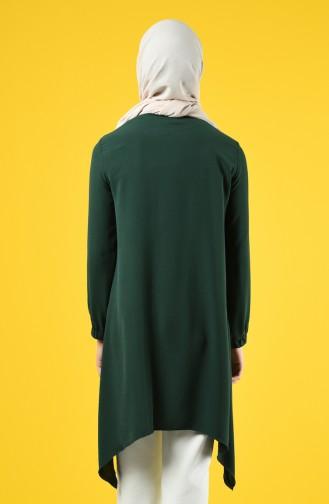 Aerobin Fabric Asymmetric Tunic with Pockets 0081-05 Emerald Green 0081-05