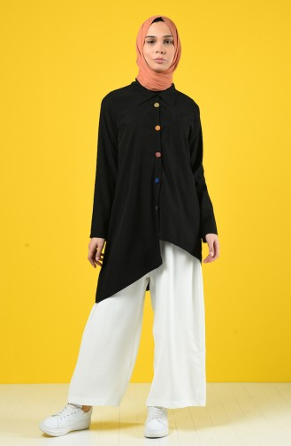 Asymmetric Tunic with Colored Buttons 4700-01 Black 4700-01