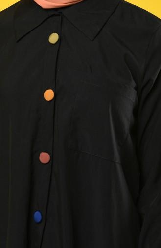 Renkli Düğmeli Asimetrik Tunik 4700-01 Siyah