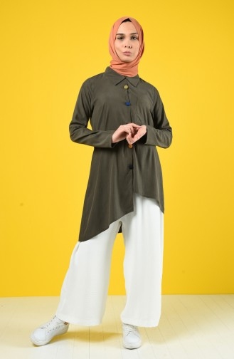 Asymmetric Tunic with Colored Buttons 4700-02 Khaki 4700-02