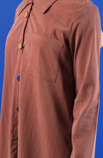 Geknöpfte Asymmetrische Tunika 700-04 Puder Rosa 4700-04
