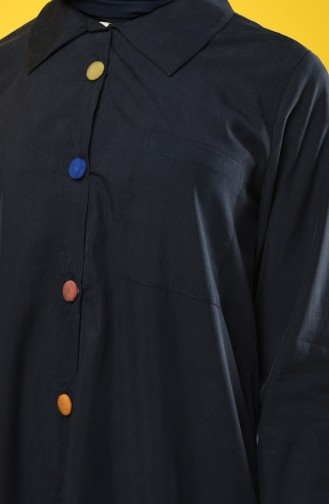 Asymmetric Tunic with Colored Buttons 4700-05 Dark Navy Blue 4700-05