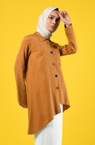 Asymmetric Tunic with Colored Buttons 4700-06 Tobacco 4700-06