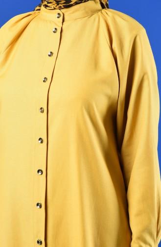 Reglan Kol Düğmeli Tunik 3166-02 Sarı