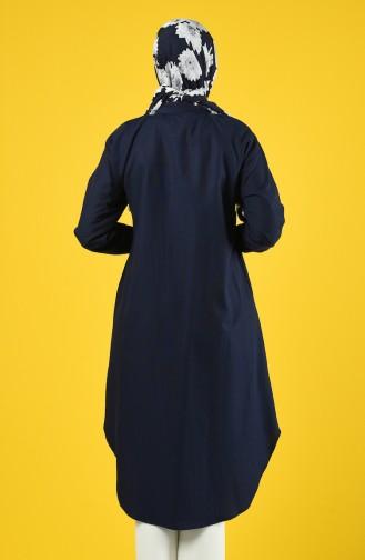 Raglan Buttoned Tunic 3166-10 Navy Blue 3166-10