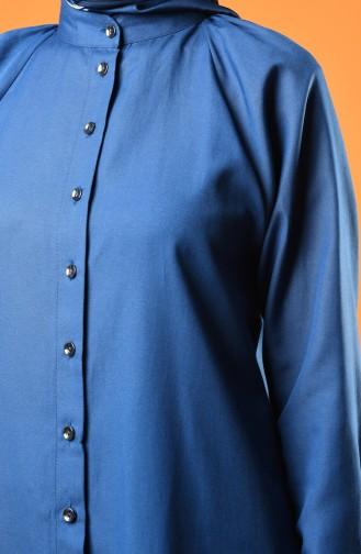 Raglan Buttoned Tunic 3166-12 Indigo 3166-12