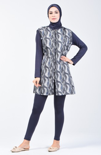 Maillot de Bain Hijab Pour Femme 28091 Bleu Marine Fumé 28091