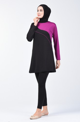 Women s Islamic Swimsuit with Tights 28097 Black Purple 28097