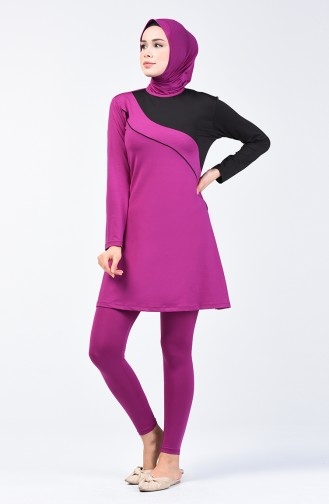 Women s Islamic Swimsuit with Tights 28103 Black Lilac 28103