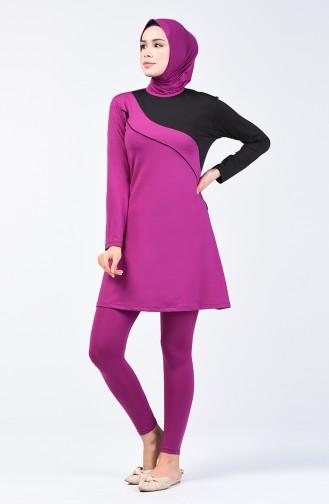 Damen Hijab Badeanzug mit Strumpfhose 28103 Schwarz Lilafarbig 28103