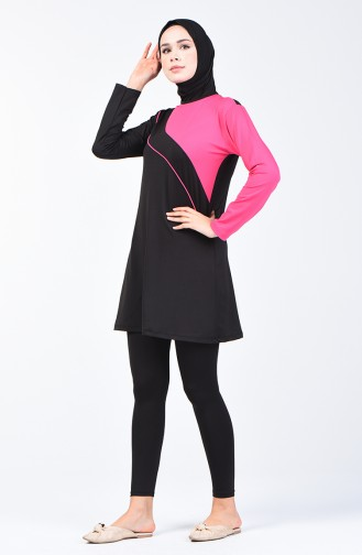 Woman s Islamic Swimsuit with Tights 28107 Pink Black 28107