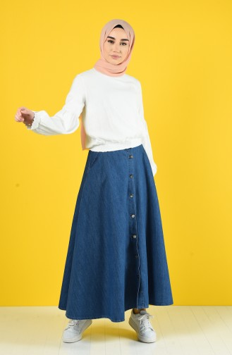 Kolu Lastikli Bluz 8068-01 Beyaz