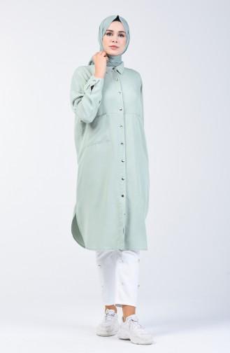 Sinnliche Tunika mit Tasche 6240-02 Mandel grün 6240-02