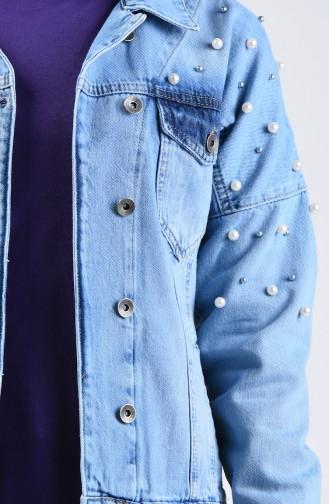 Pearled Short Denim Jacket 6092-01 Jeans Blue 6092-01
