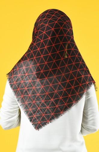 Elmina Desenli Pamuklu Eşarp 883-02 Siyah Kırmızı