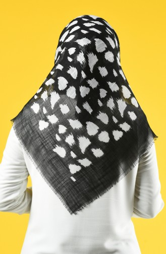 Elmina Desenli Pamuklu Eşarp 894-01 Siyah Beyaz