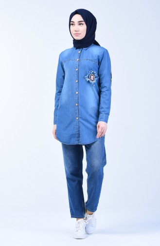 Geknöfptes Jeanshemd  3011-01 Jeans Blau 3011-01