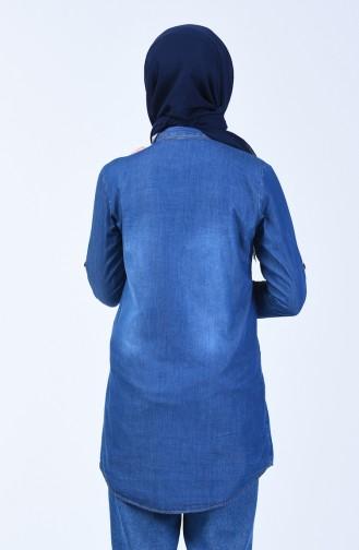 Navy Blue Overhemdblouse 3011-02