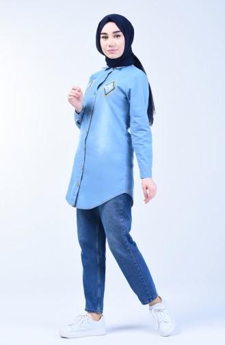 Besticktes Jeanshemd 3012-01 Jeans Blau 3012-01